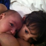 Tandem Nursing Veda (2.5 years) and Surya (2 months)