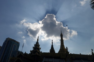 Sunshine and clouds over the Sule Pagoda in Yangon, Myanmar
